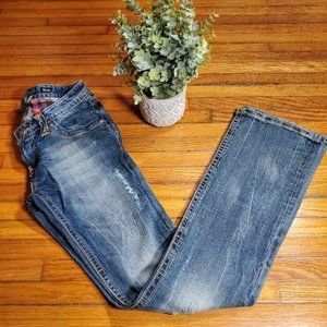Express Jeans ReRock Bootcut Distressed Flannel 00